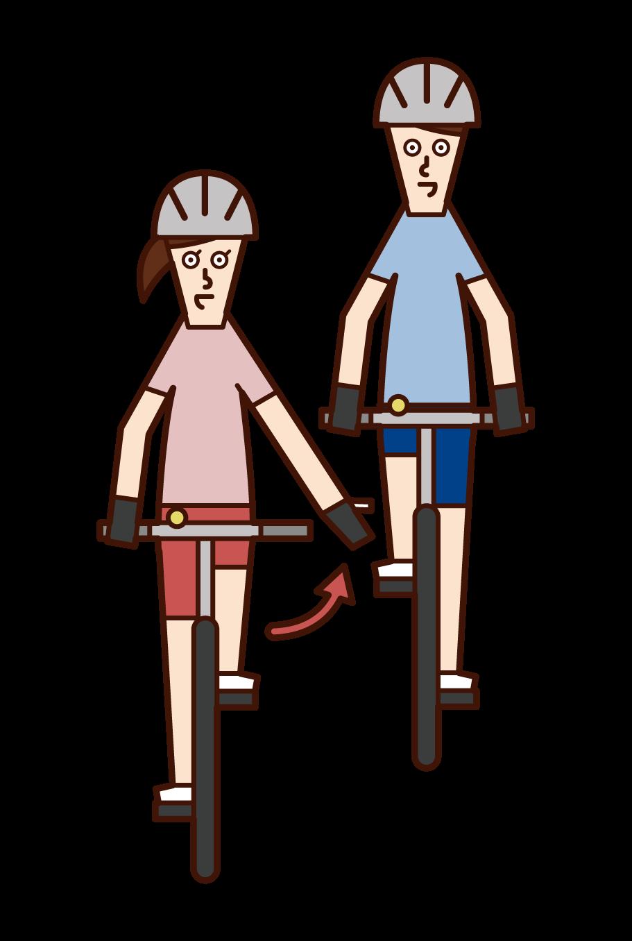 自転車の手信号・先に行ってもらう(女性)のイラスト