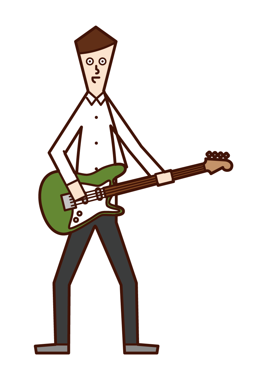 Illustration of a man playing an electric bass