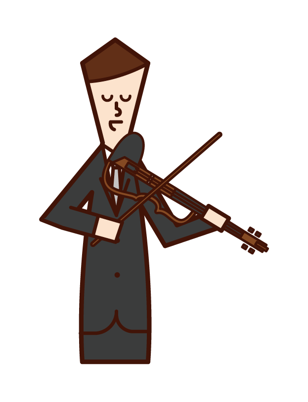 Illustration of a man playing electric violin