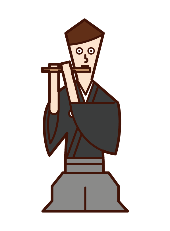 Illustration of a man playing a flute