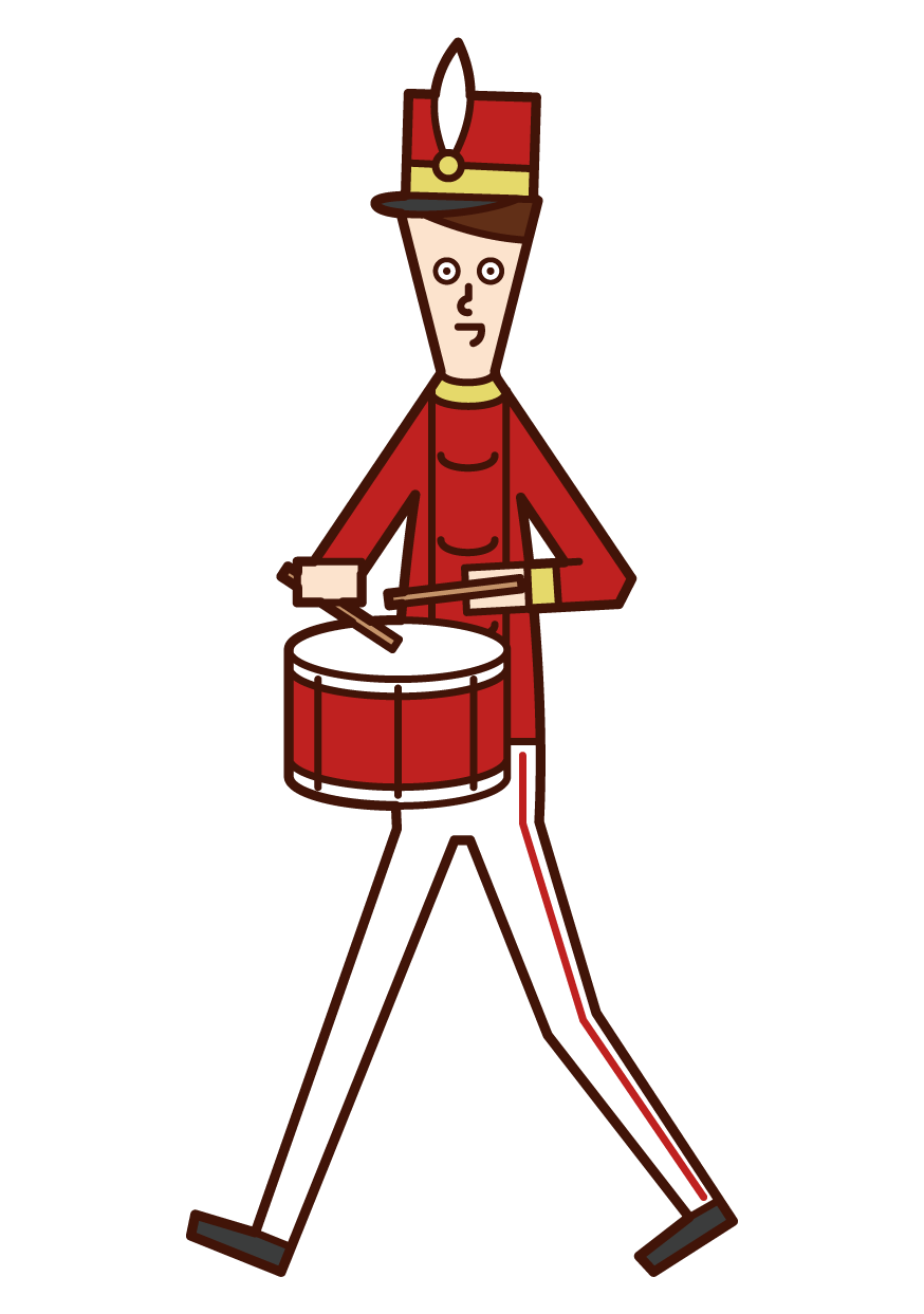 Illustration of a marching band player (male) playing a small drum