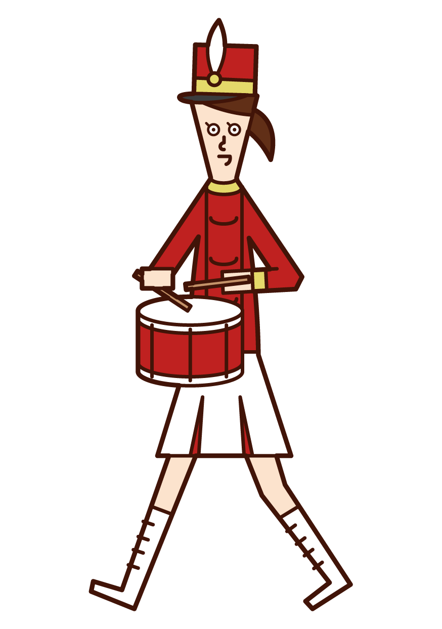 Illustration of a marching band player (female) playing a small drum