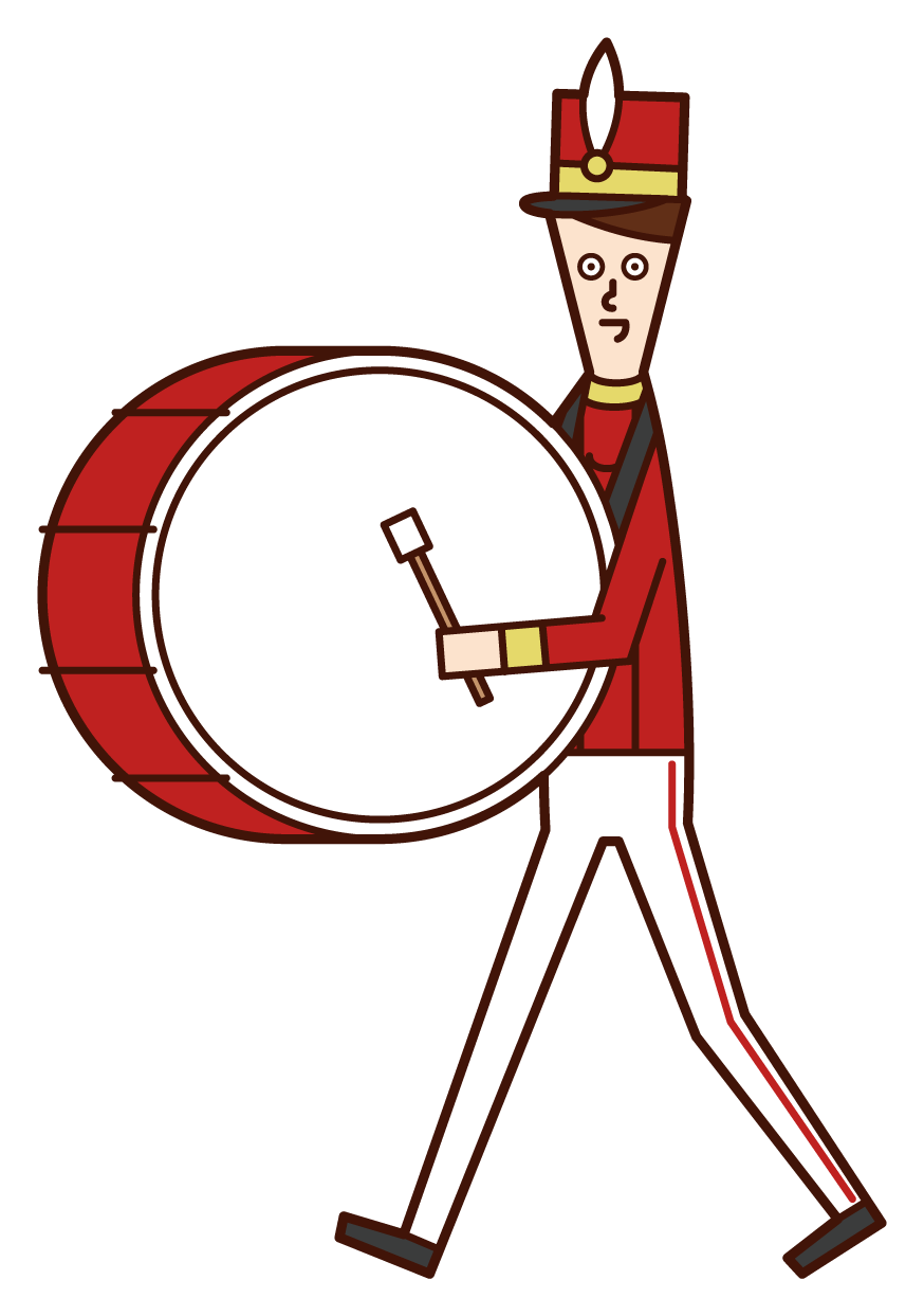 Illustration of a marching band player (male) playing a large drum