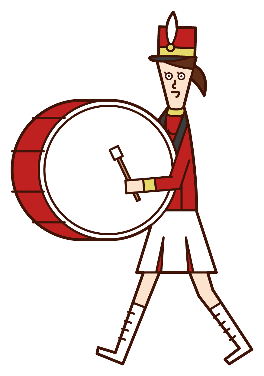 Illustration of a marching band player (woman) playing a large drum