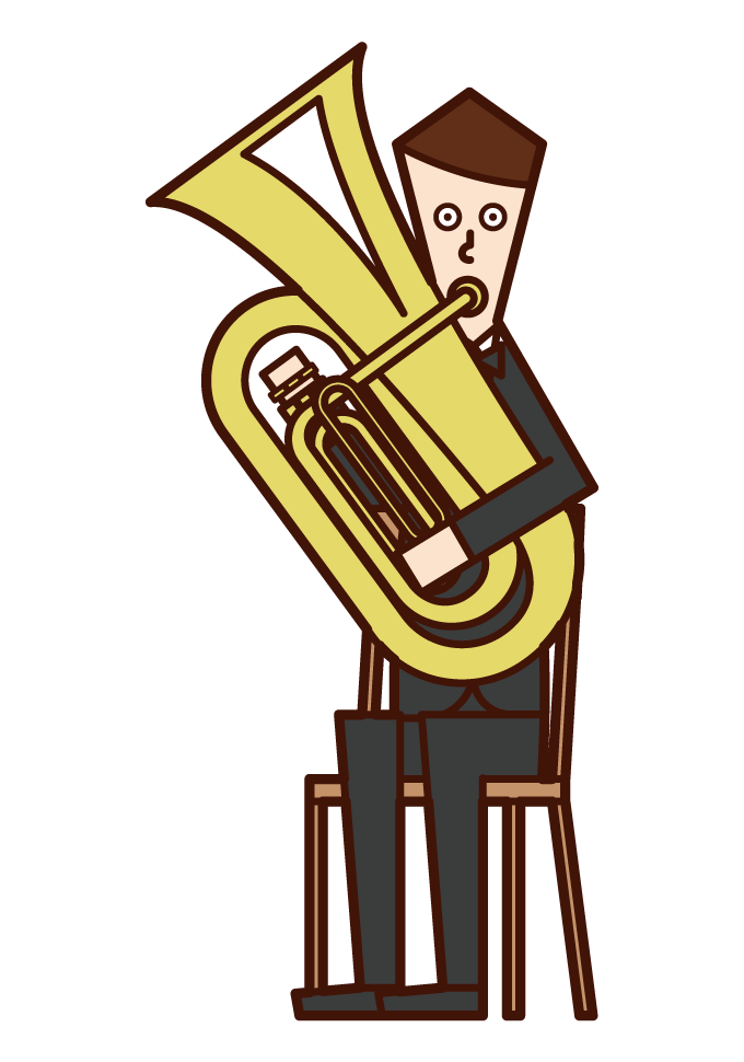 Illustration of a person (male) playing a tuba