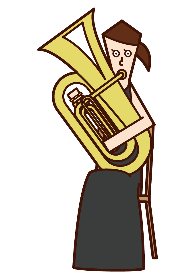 Illustration of a woman playing a tuba