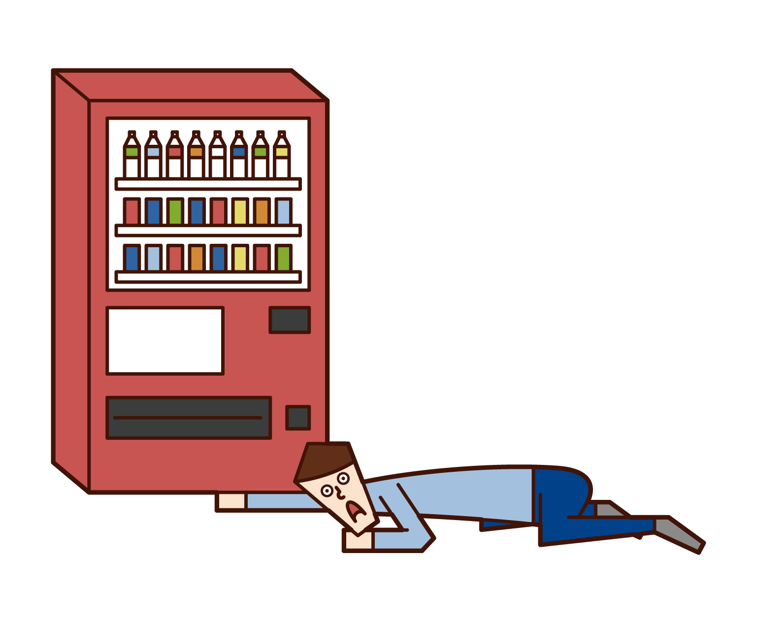 Illustration of a man looking for money under a vending machine