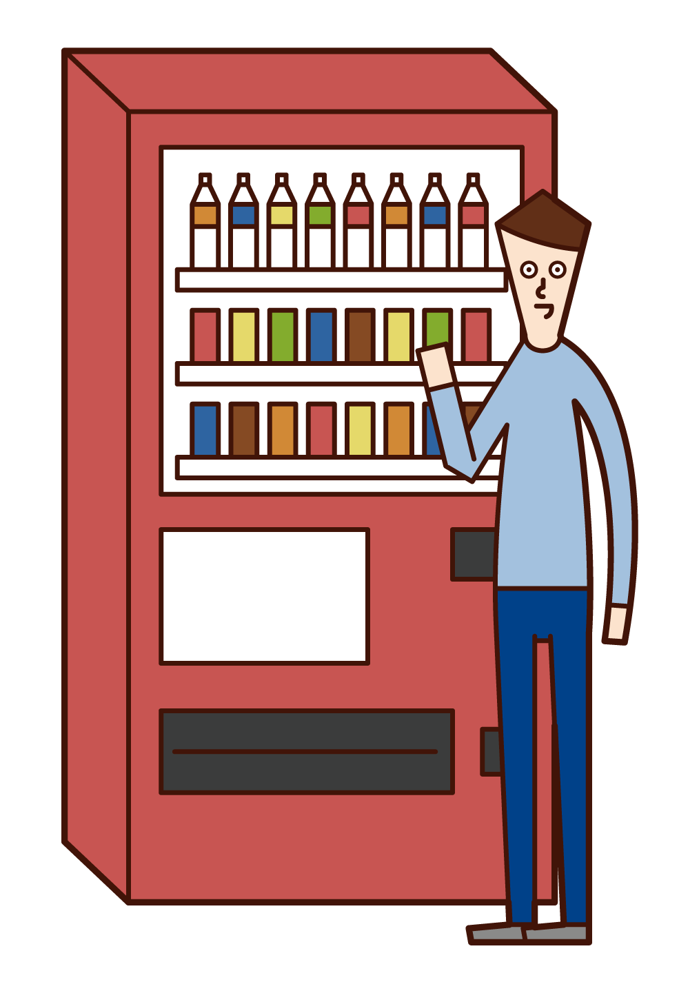 Illustration of a man buying a drink from a vending machine