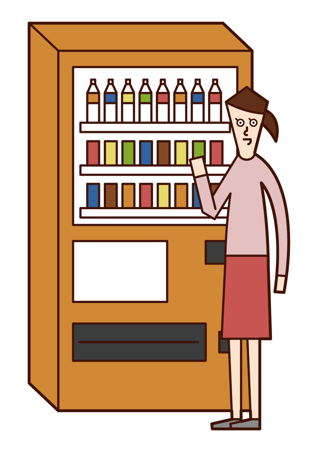 Illustration of a woman buying a drink from a vending machine
