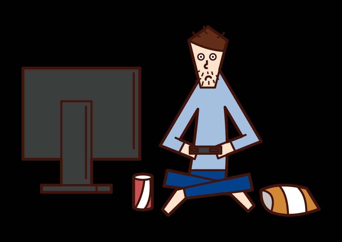 ゲームをするニート(男性)のイラスト