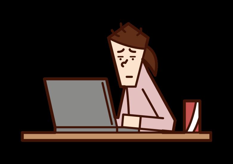 パソコンばかりしているニート(女性)のイラスト