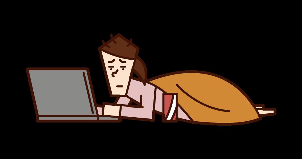 컴퓨터를 사용하는 니트 (여성) 그림