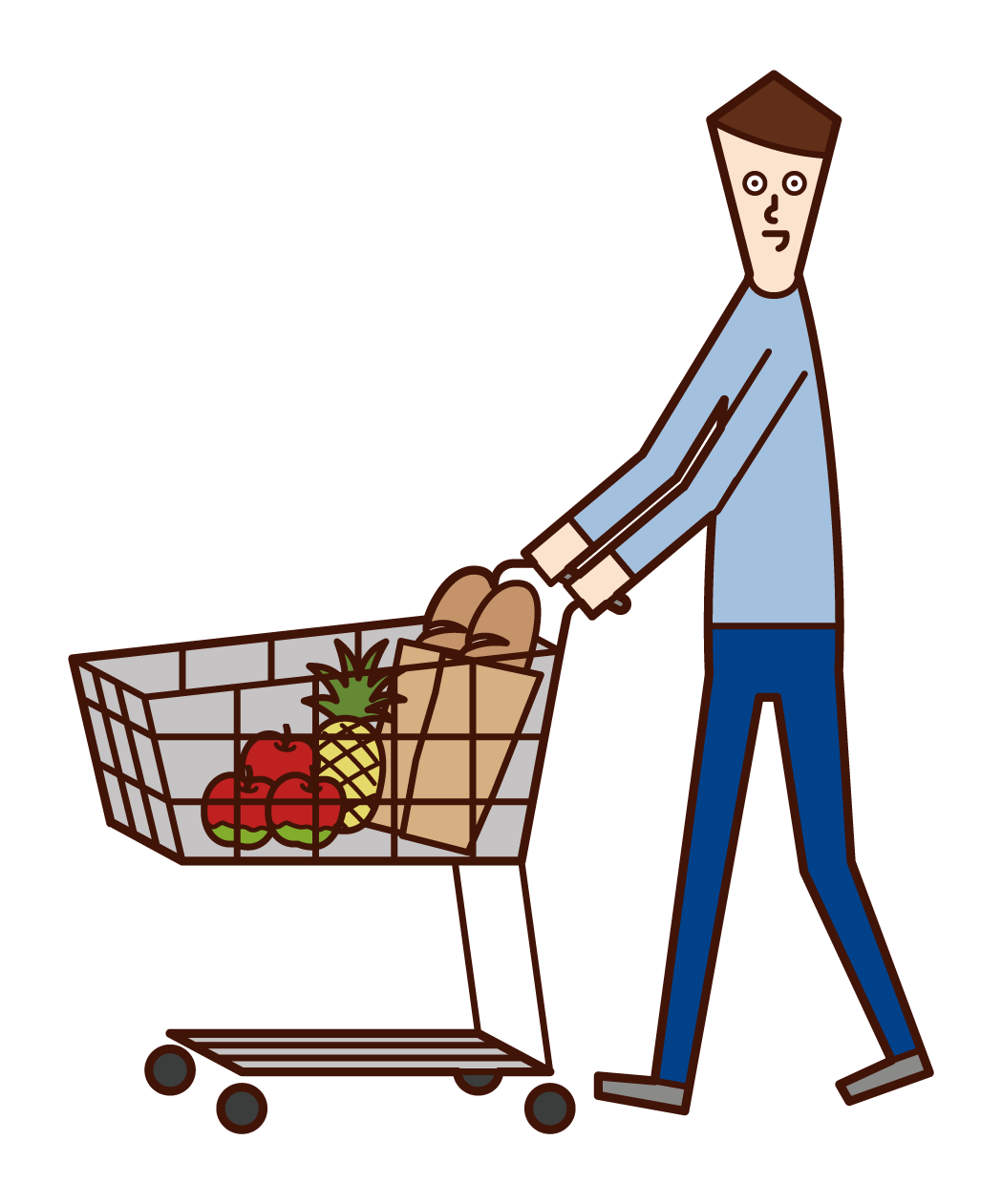 Illustration of a man shopping in a supermarket
