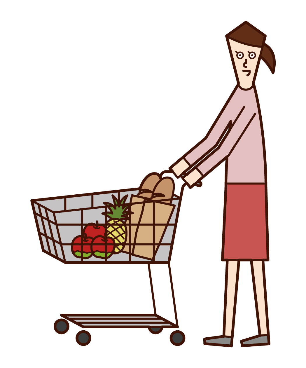 Illustration of a woman shopping in a supermarket