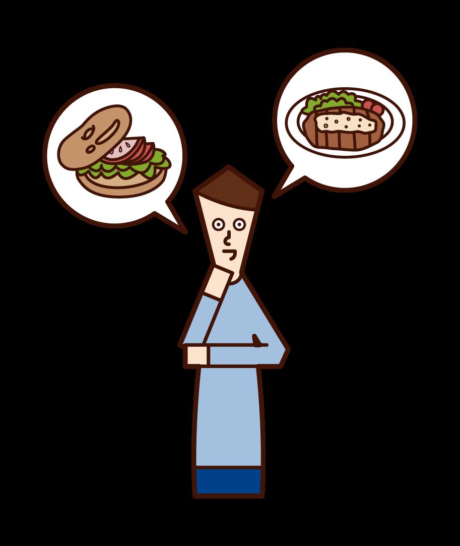 요리를 주문하는 사람 (남성)의 그림을 고려하십시오