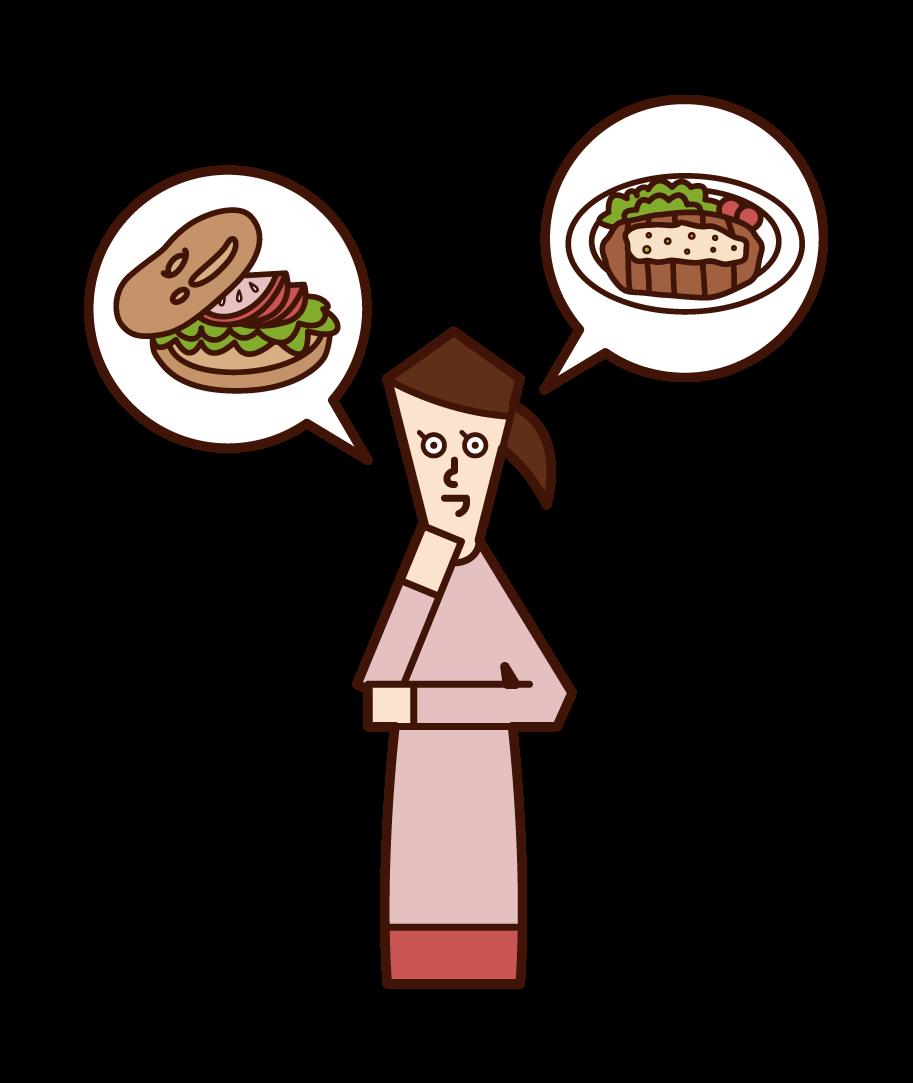 요리를 주문하는 사람 (여성)의 그림을 고려하십시오