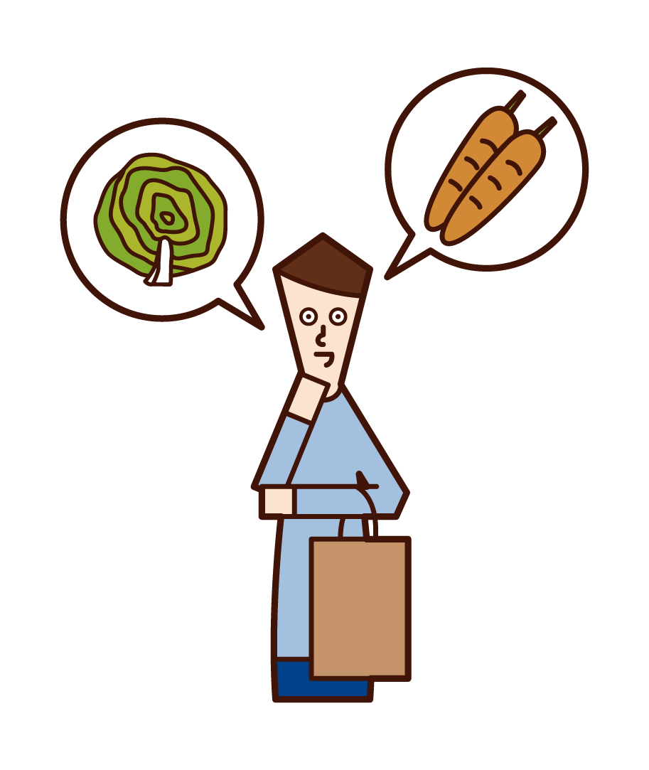 Illustration of a person (man) choosing ingredients