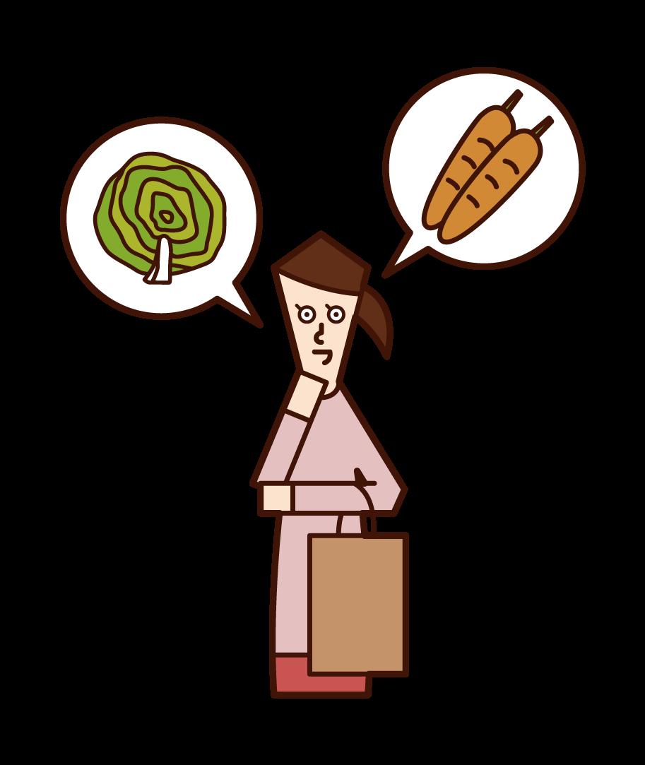 Illustration of a woman choosing ingredients