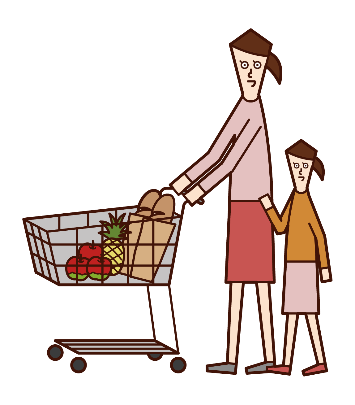 Illustration of parent and child shopping in supermarket