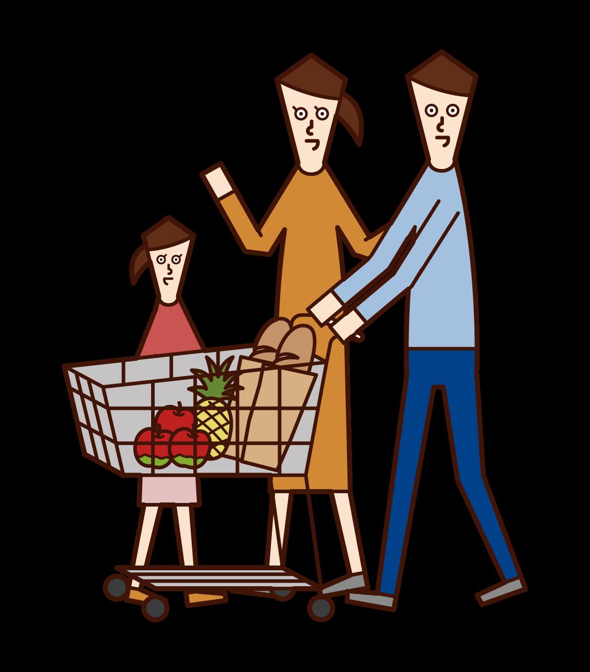 Illustration of family shopping in supermarket