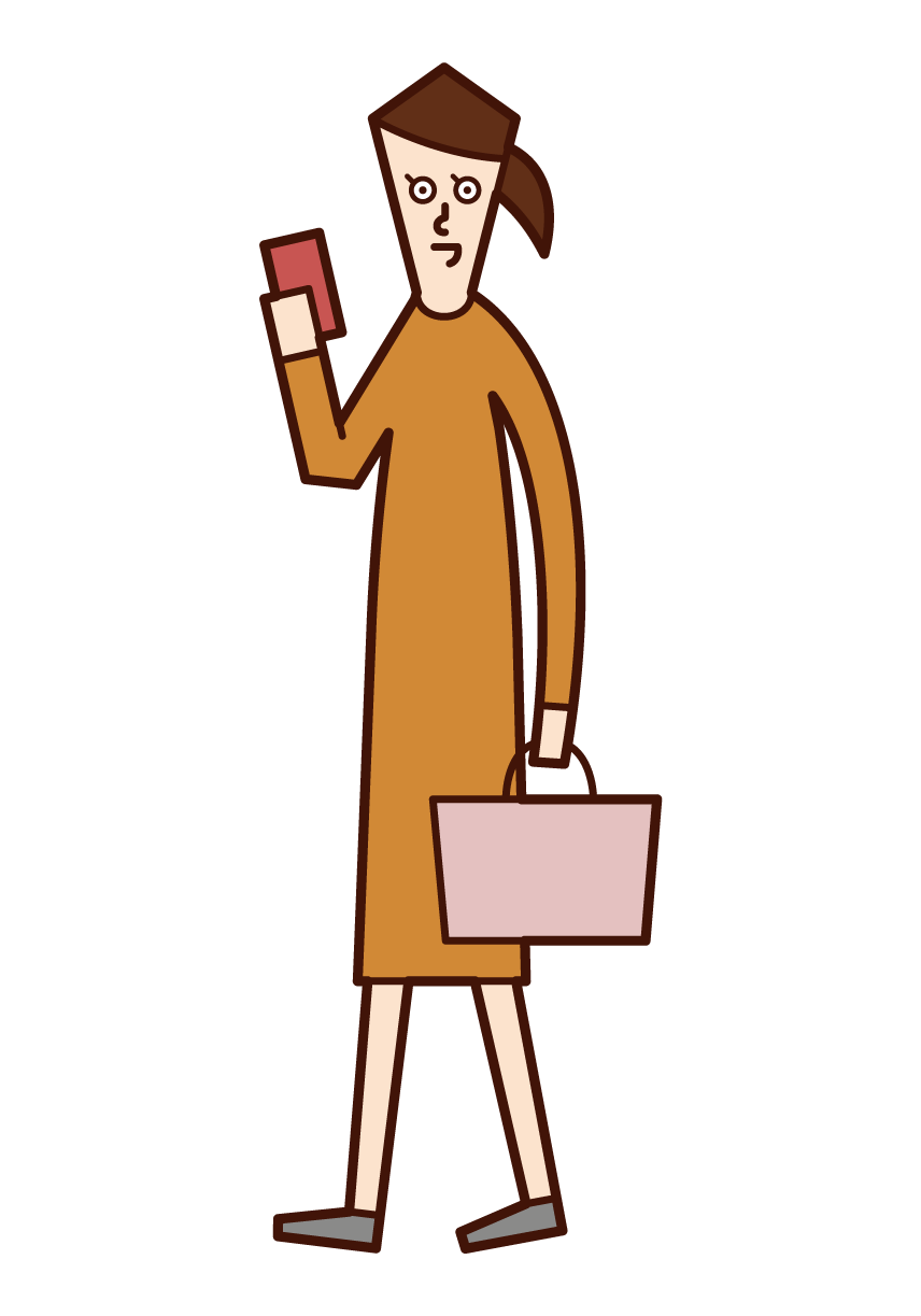 Illustration of a woman thinking about a menu of dishes on a smartphone