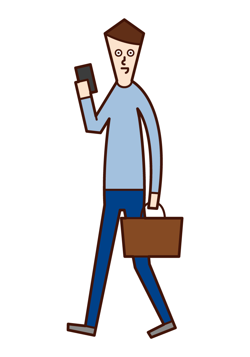 Illustration of a man thinking about a menu of dishes on a smartphone