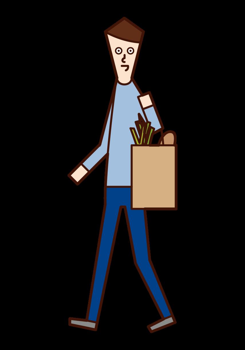 Illustration of a shopper (male)
