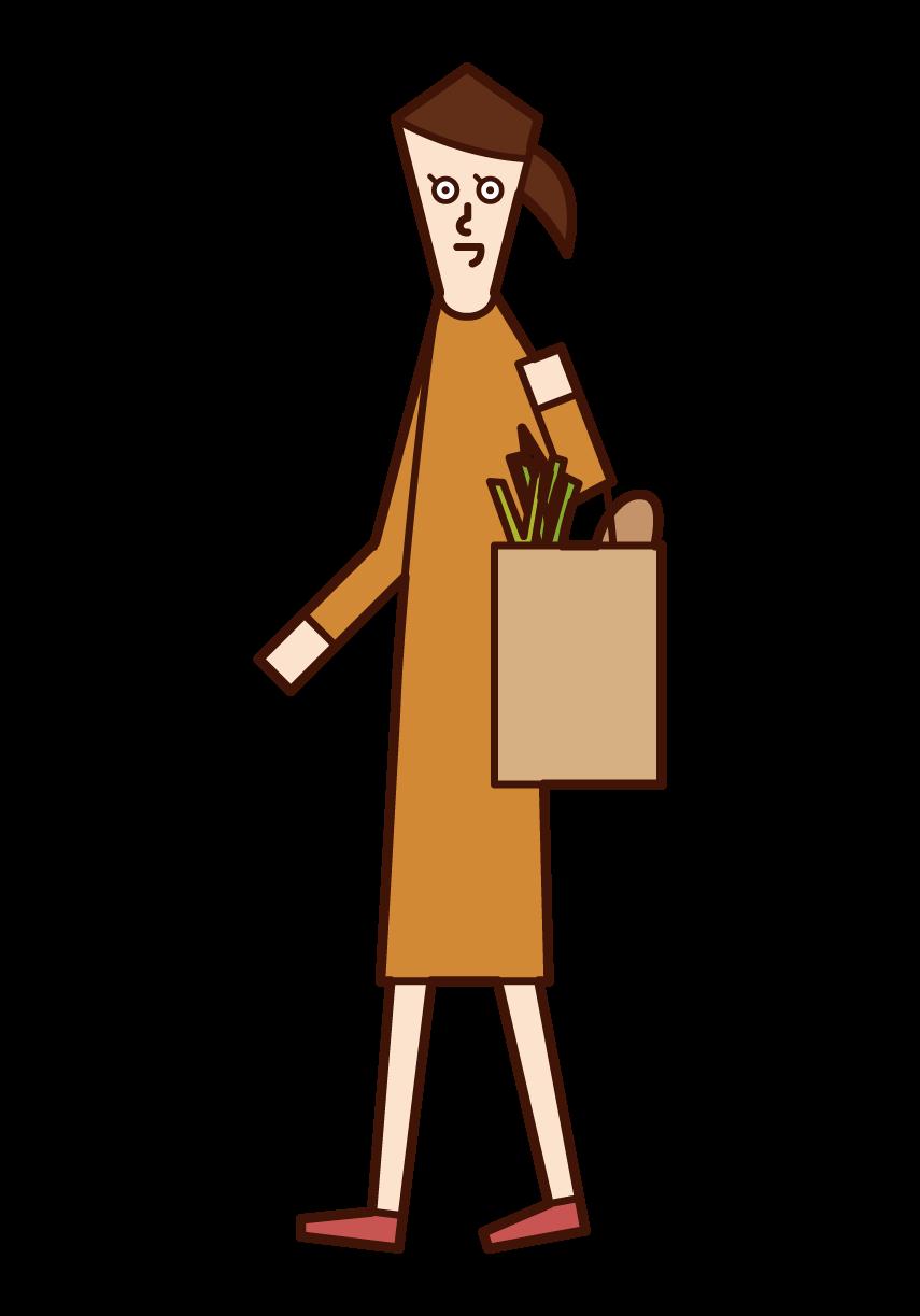 Illustration of a shopper (woman)