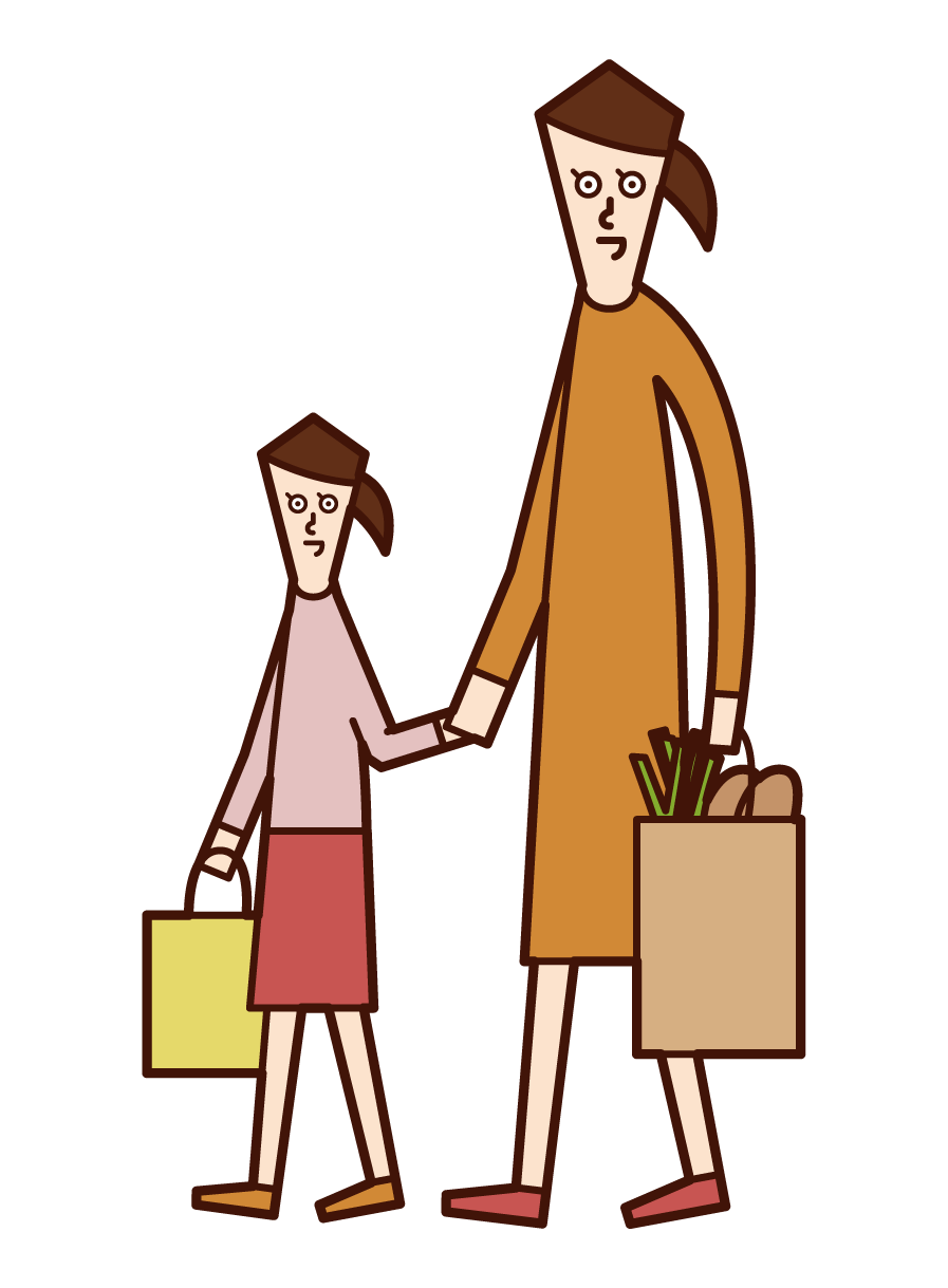 Illustration of parent and child (woman) shopping