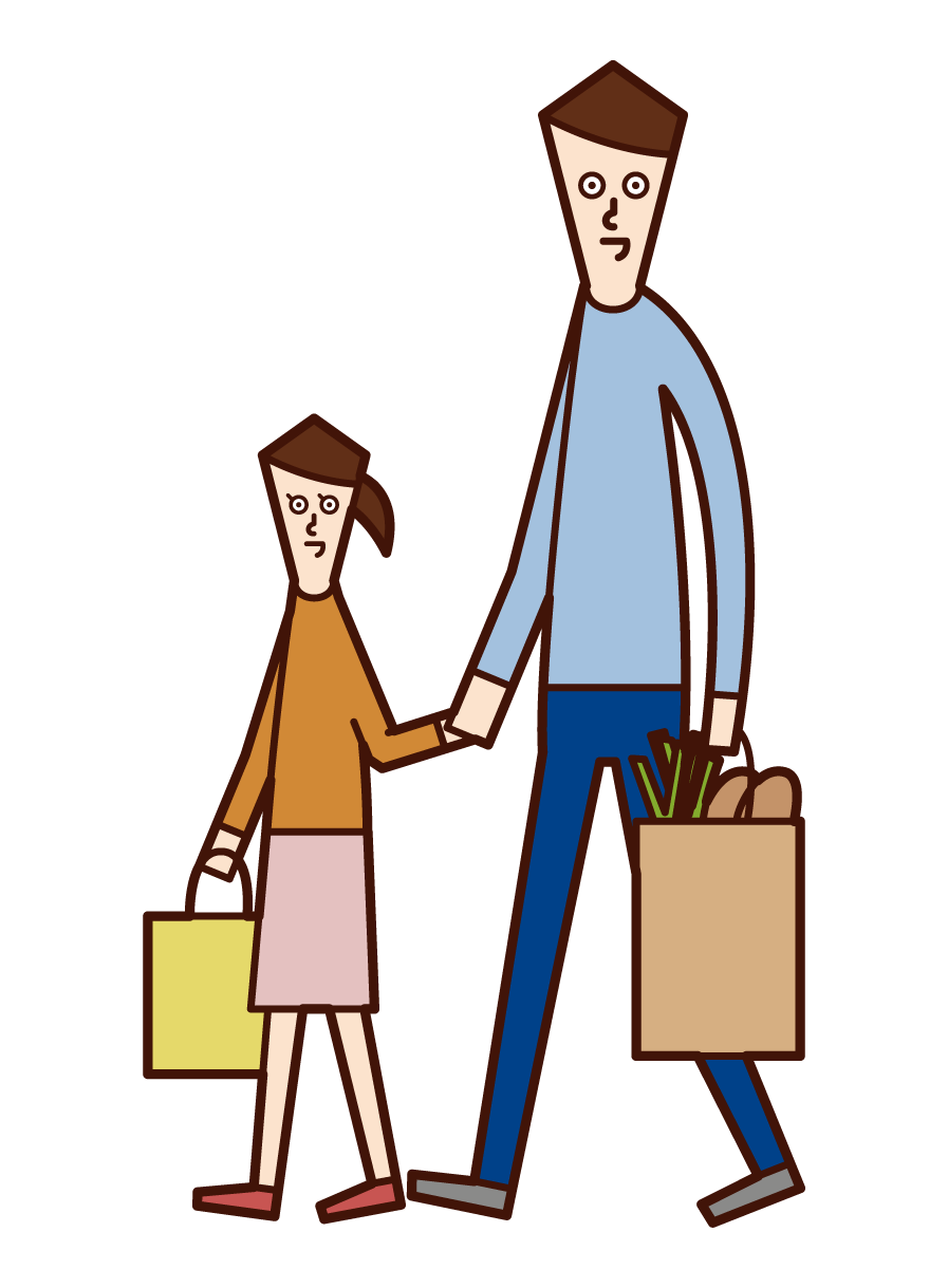 Illustration of parents and children shopping