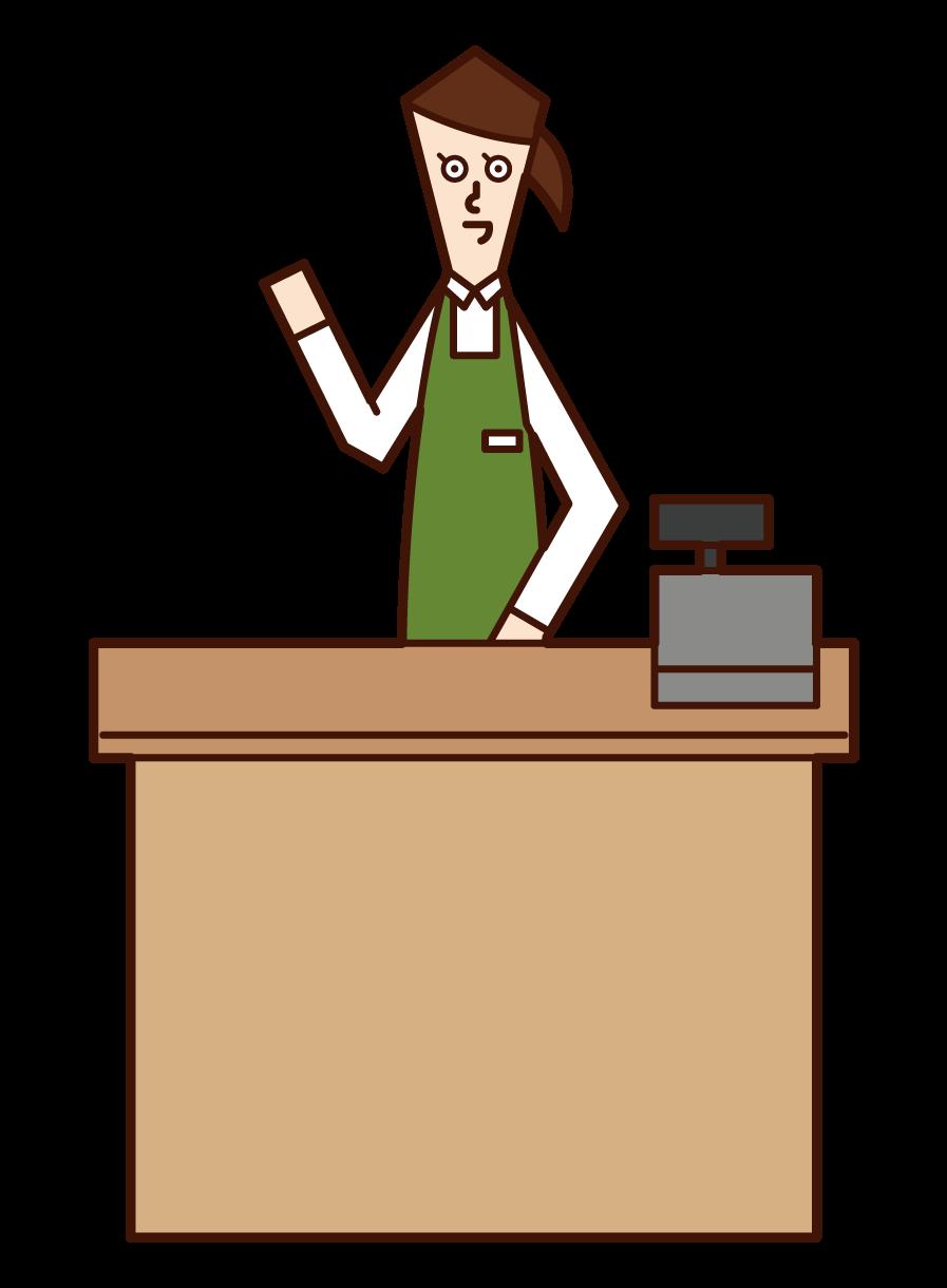 レジで働く店員(女性)のイラスト