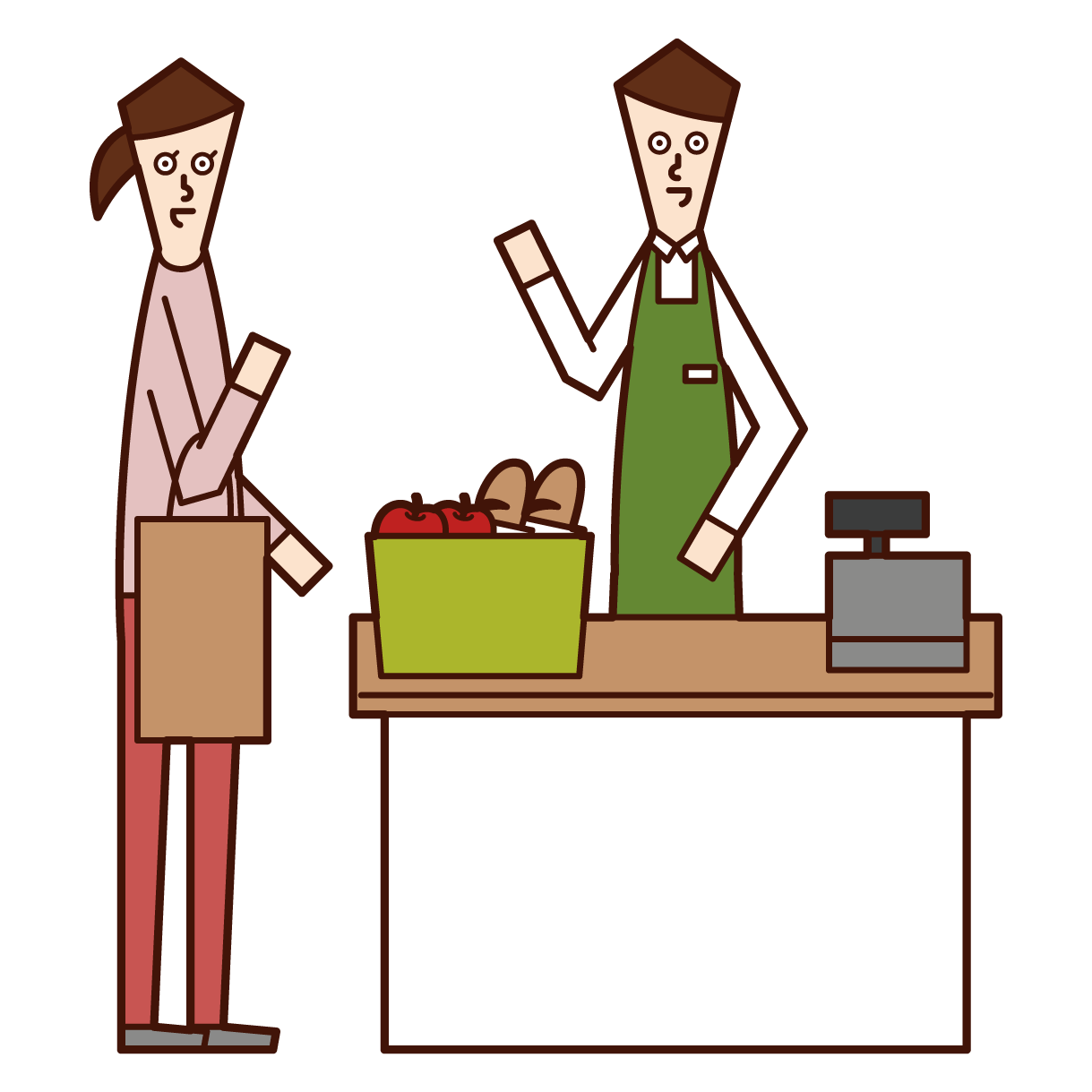 Illustration of a clerk (man) accounting at the cash register