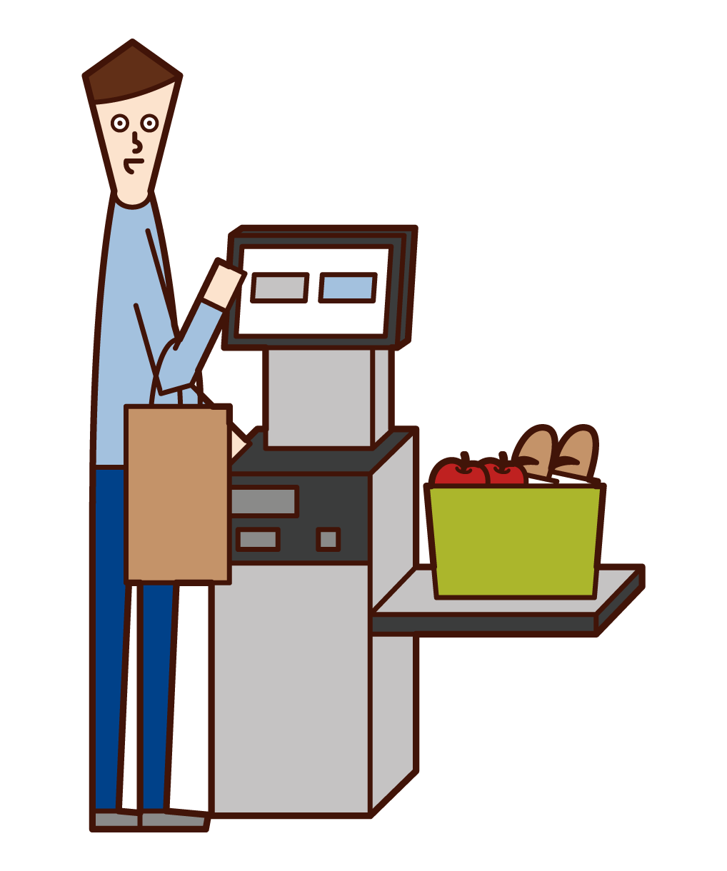 Illustration of a man accounting at a self-register