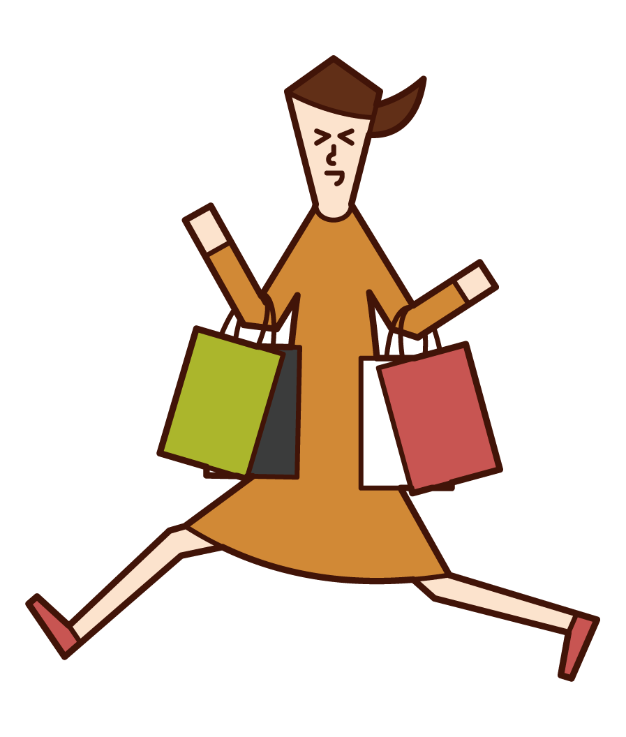 Illustration of a woman who is happy to shop