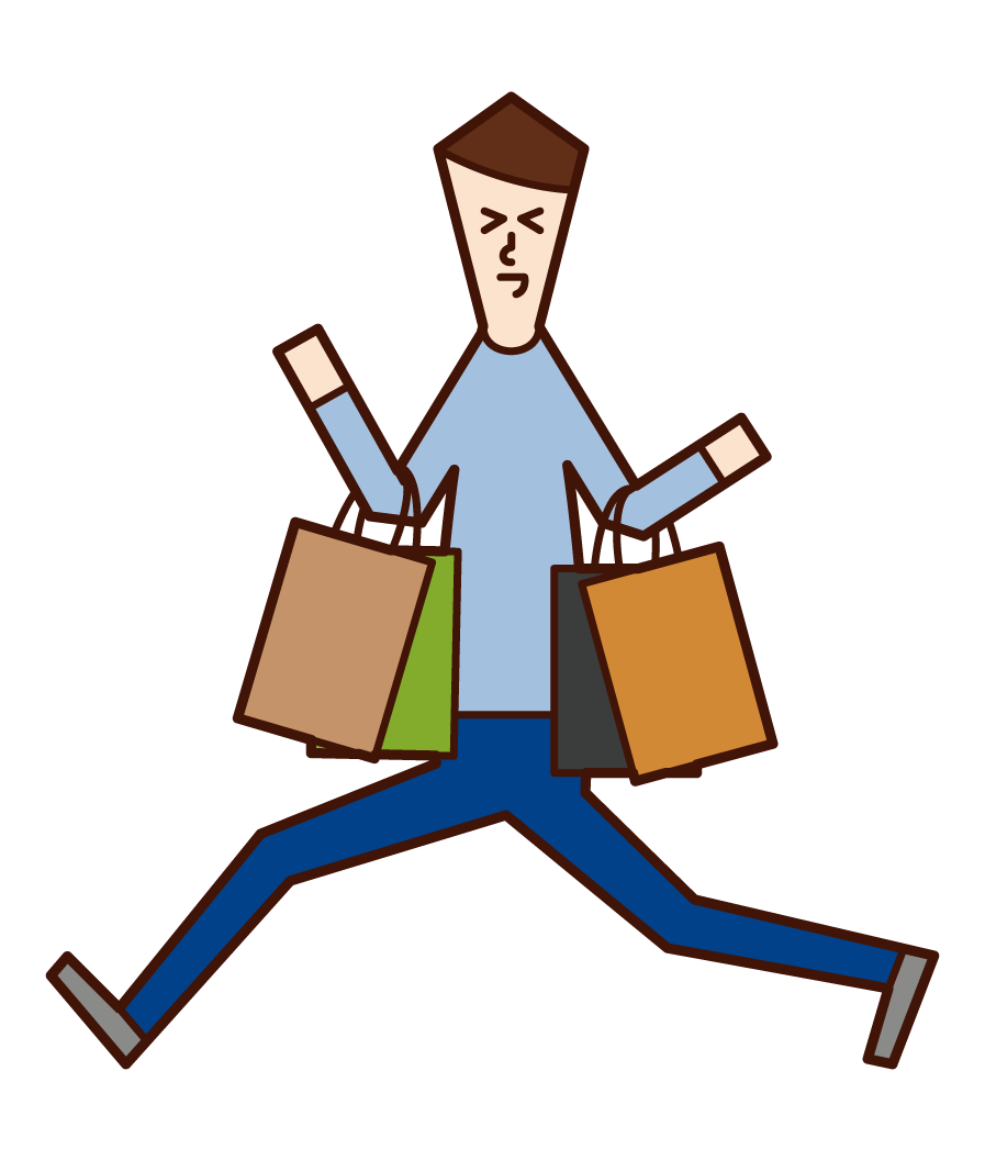 Illustration of a person (man) who is happy to shop