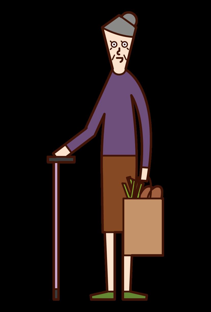 Illustration of a shopper (grandmother)
