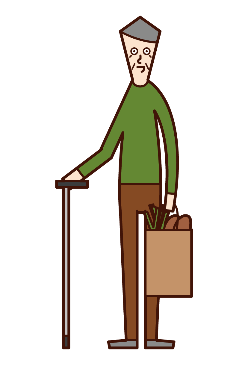 Illustration of a shopa buying person (old man)
