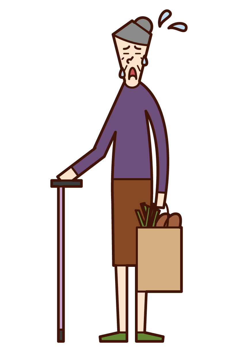 Illustration of a tired person (grandmother) going shopping