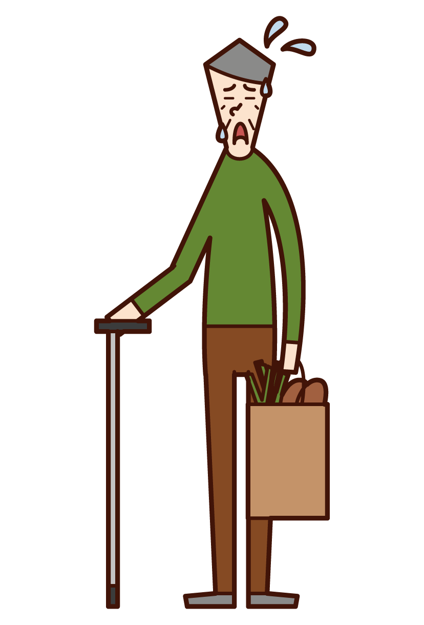 Illustration of a tired person (old man) going shopping