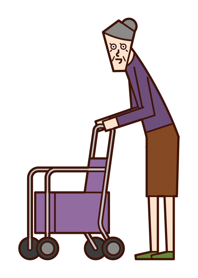 Illustration of a silver car person (grandmother)