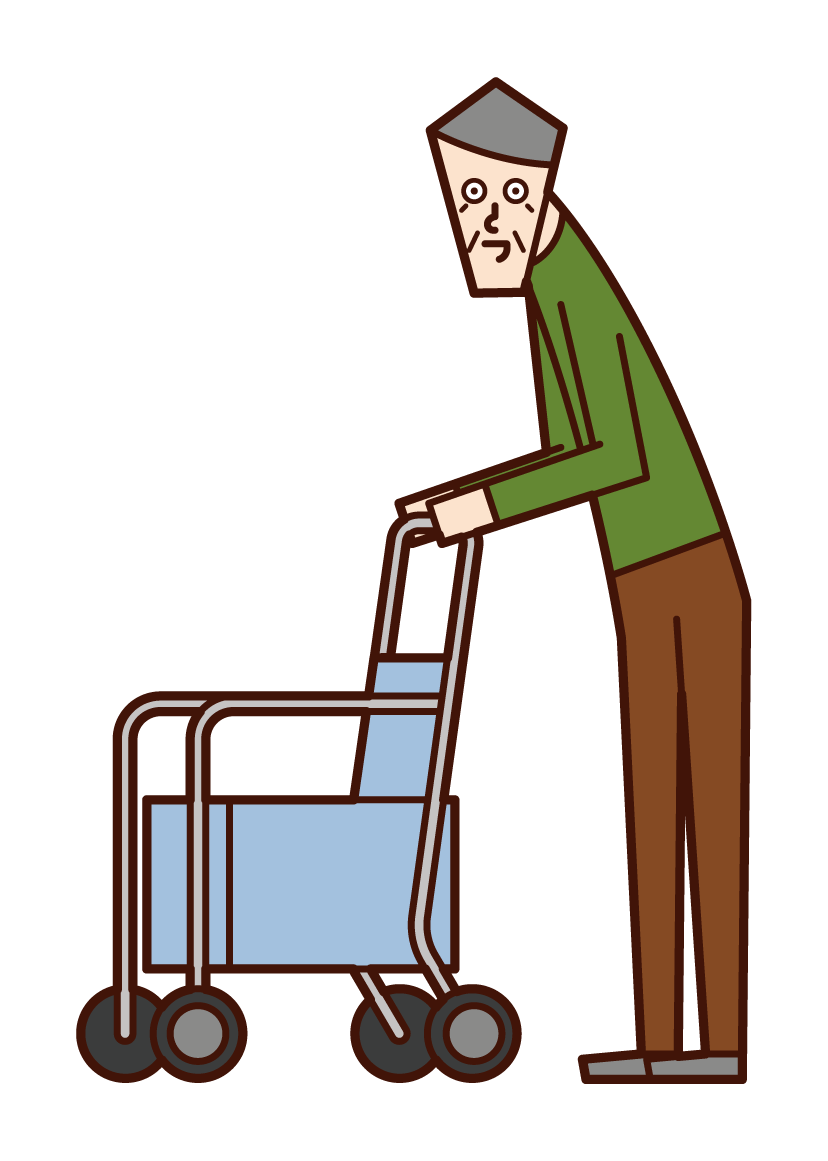 Illustration of a person (old man) shopping in a silver car