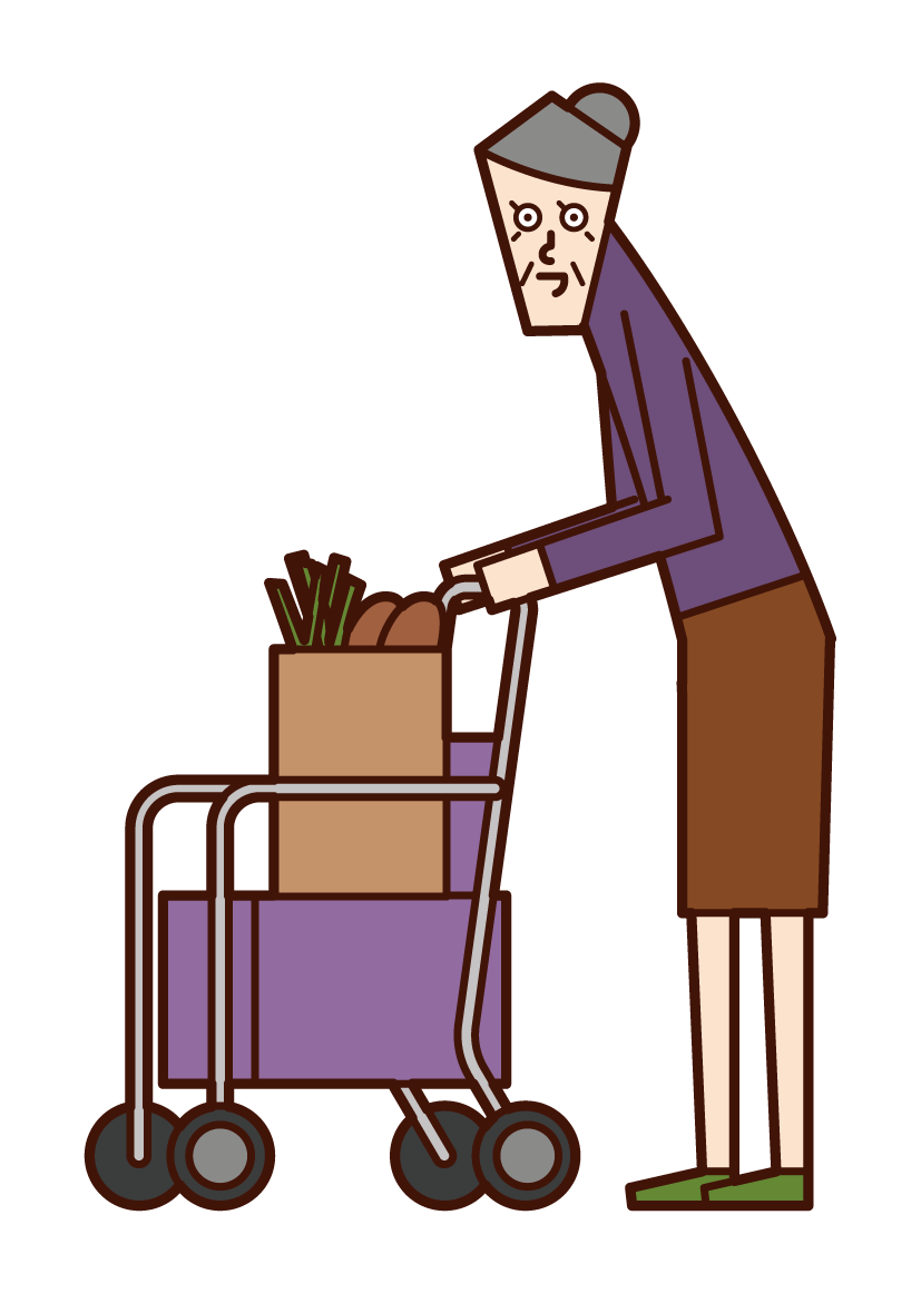 Illustration of an old man shopping in a silver car