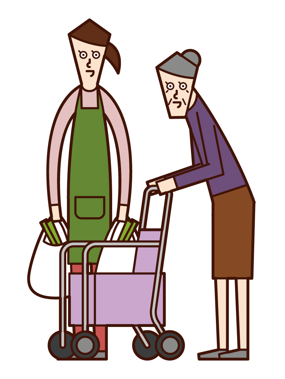 Illustration of care worker (woman) helping elderly people shop