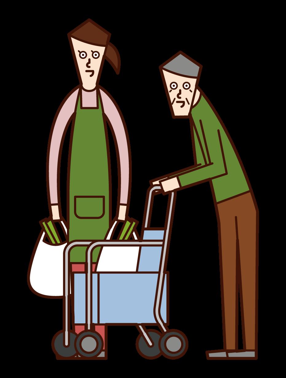 Illustration of care worker (man) helping elderly people shop