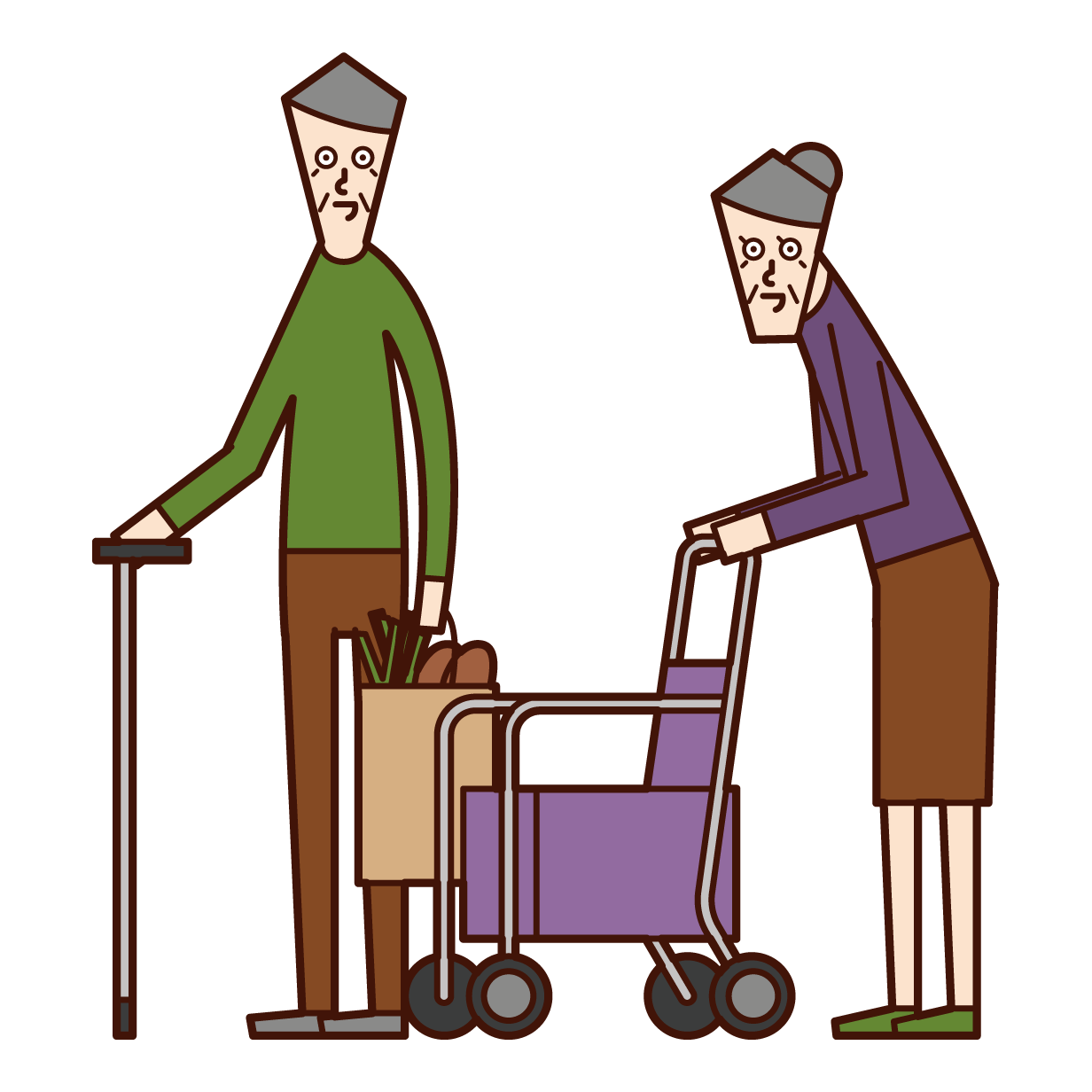 Illustration of an elderly couple shopping