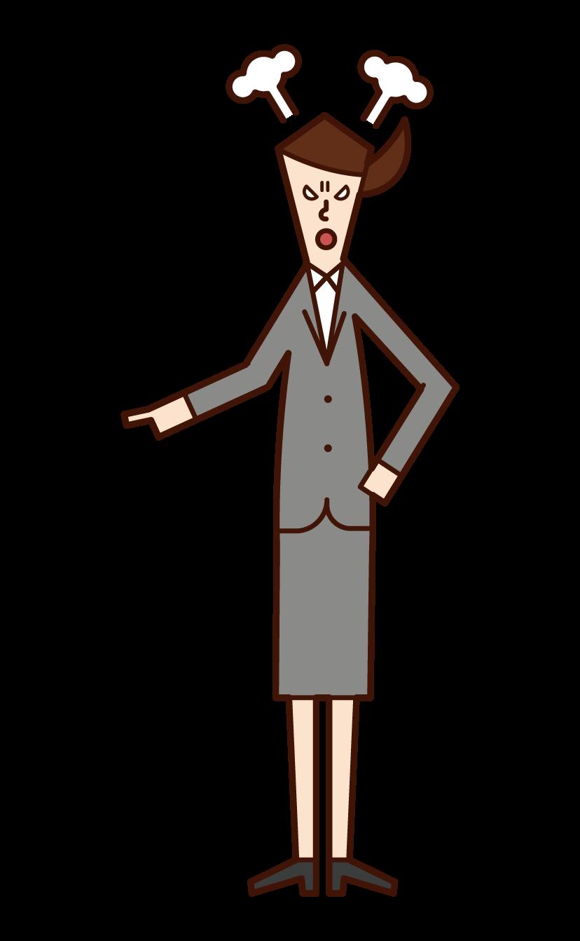 指をさして怒る人(女性)のイラスト