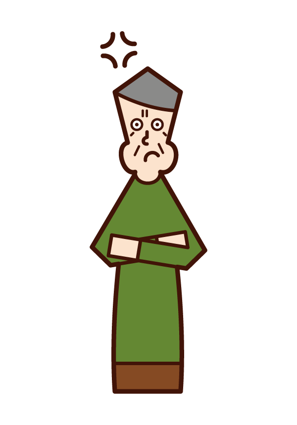 Illustration of a person (old man) who gets angry with his arms folded