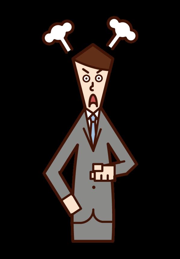 指をさして怒る人(男性)のイラスト