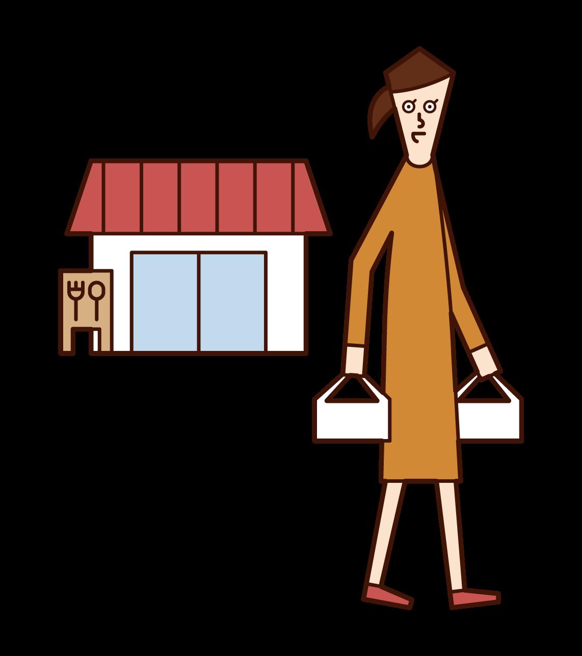 음식을 배달하는 사람 (여성)의 그림