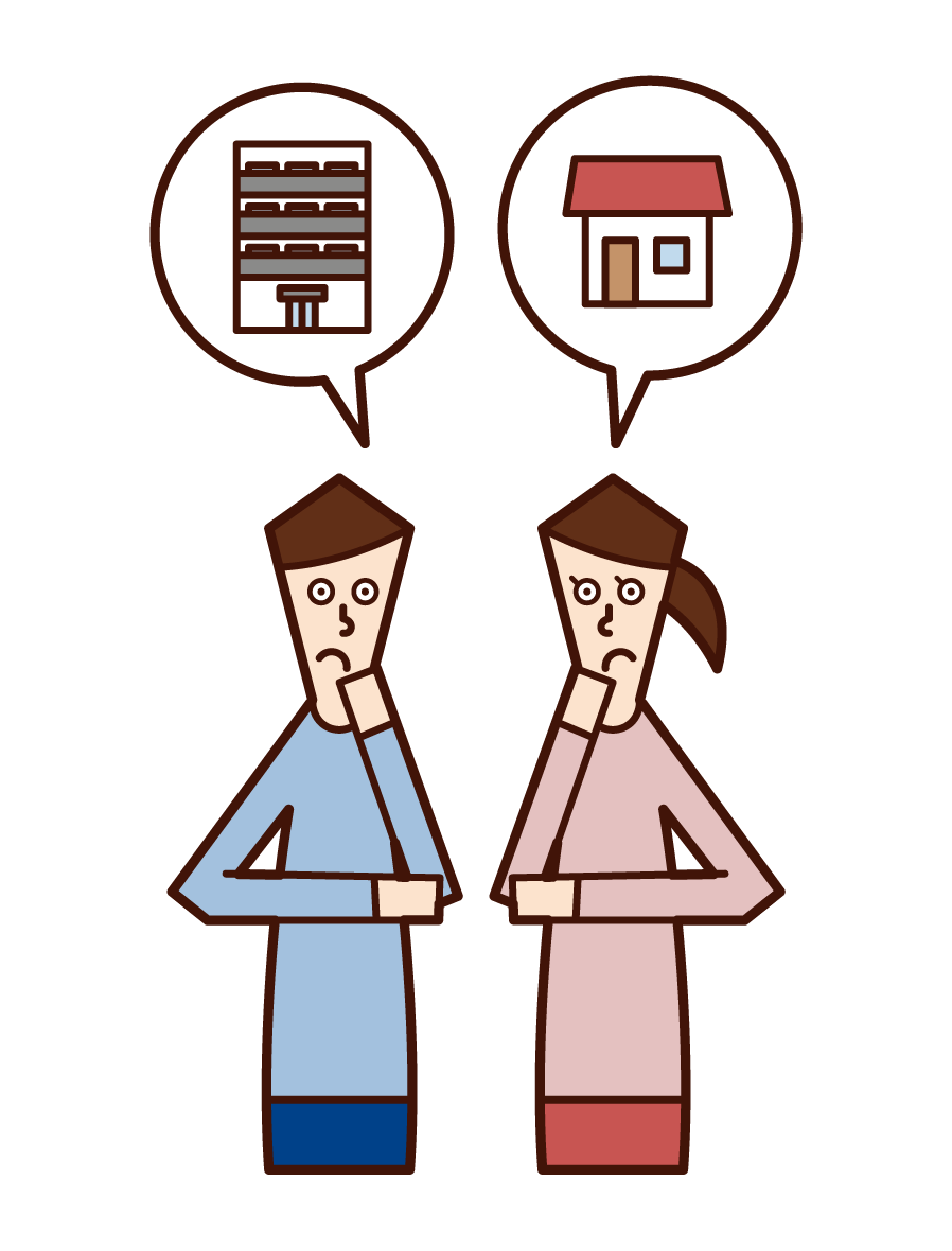 Illustration of a couple who are worried about buying a house